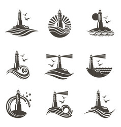 Lighthouse icon set vector
