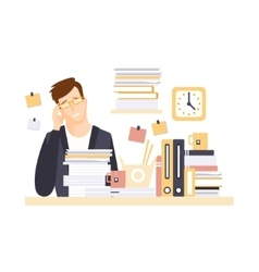 Man Office Worker In Office Cubicle With Headache vector image vector image