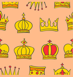 pattern of gold crown style collection vector image