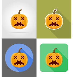 pumpkins for halloween flat icons 09 vector image vector image