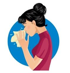 Sneezing woman eps10 vector image