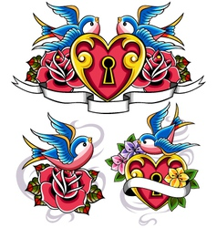 style tattoo swallow vector image