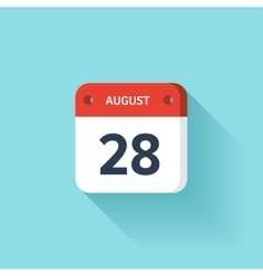 August 28 isometric calendar icon with shadow vector