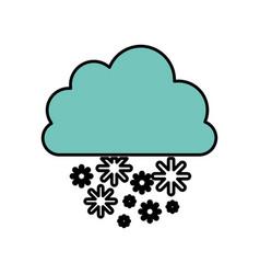 blue cloud snowing icon vector image