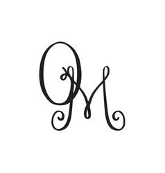 Handwritten monogram om icon vector