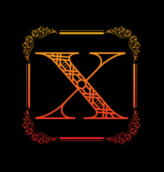 letter x with ornament vector image