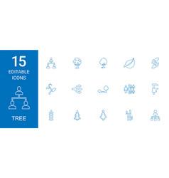 15 tree icons vector