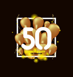 50 year anniversary white gold balloon template vector