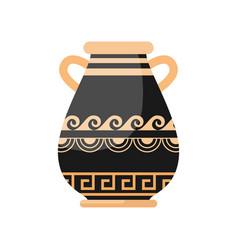 ancient black yellow color greek wide vase vector image