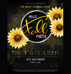 autumn party poster with hand drawn vector image