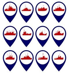 Badges with navy ships 3 vector