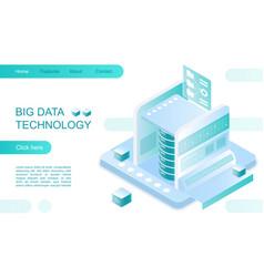 big data technology landing page isometric vector image