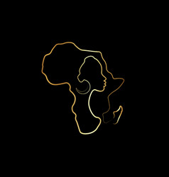 Black african woman in gold line art style logo vector