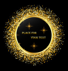 black and gold background with circle frame and vector image