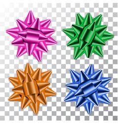 blue green pink orange bow 3d ribbons set vector image
