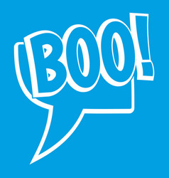 Boo comic text speech bubble icon white vector