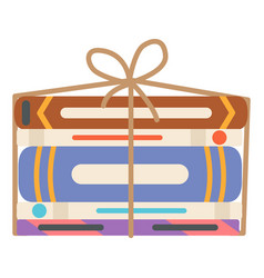 books wrapped in rope garage sale selling vector image