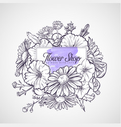 bouquet of chamomile and petunia flowers vector image