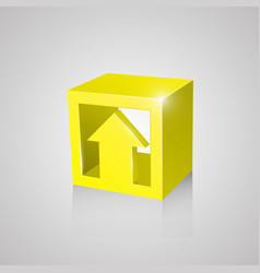 Box with arrow yellow vector