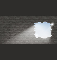 break in the brick wall vector image