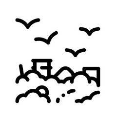 Building smog and birds thin line icon vector