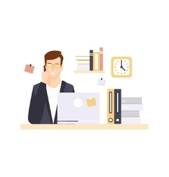 Busy Man Office Worker In Office Cubicle Having vector