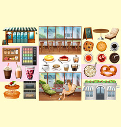 Cafe and different kinds of food and drinks vector