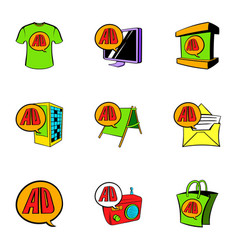 Cashpoint icons set cartoon style vector