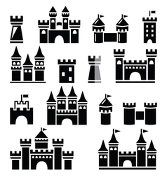 Castle towers icons set vector image