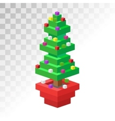 Christmas tree flat 3d isometric pixel art icon vector image