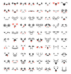 Collection cute lovely kawaii eyes and mouths vector