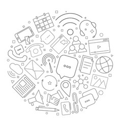 contact us circle background from line icon vector image