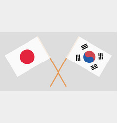 Crossed flags south korea and japan vector