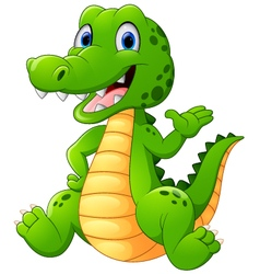 Cute crocodile waving hand vector image