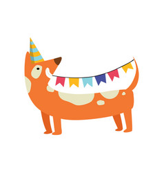 Cute dog in party hat holding party flags funny vector