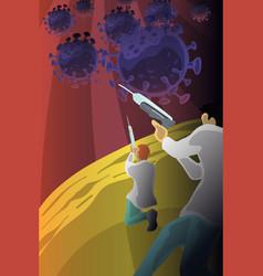 doctor with vaccine gun fight coronavirus vector image