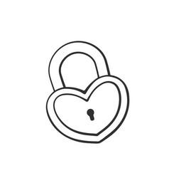 doodle padlock in heart shape vector image