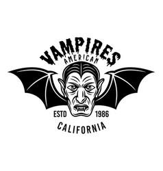 dracula head with bat wings emblem or print vector image