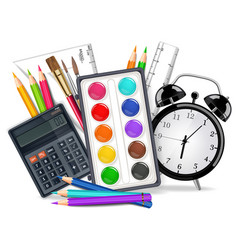 Drawing supplies realistic alarm clock vector