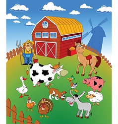 Farm scene cartoon vector