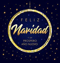 feliz navidad y prospero ano nuovo golden card vector image
