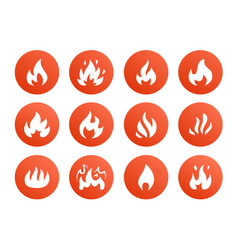 Fire flat glyph icons flame shapes silhouette vector