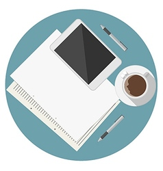 Flat icon for blogger work table vector