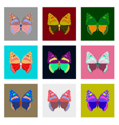 flat icons big collection of colorful butterflies vector image