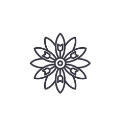floral aster line icon concept floral aster flat vector image