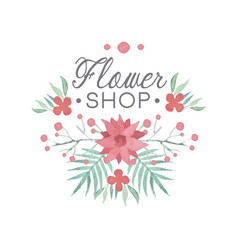 flower shop colorful logo template badge in vector image