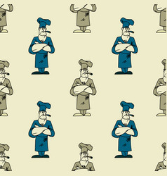 funky chef seamless pattern vector image