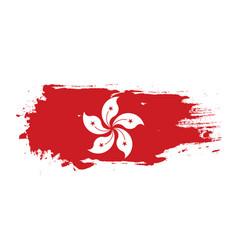 grunge brush stroke with hong kong national flag vector image
