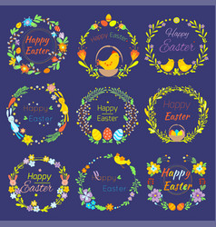 Happy easter text quote in flowers branch and eggs vector