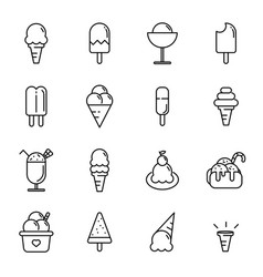 ice cream icon set food and dessert concept thin vector image